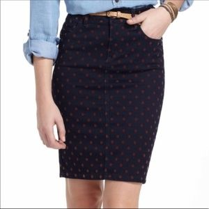 Anthropologie Pilcro Dotted Denim Pencil Skirt